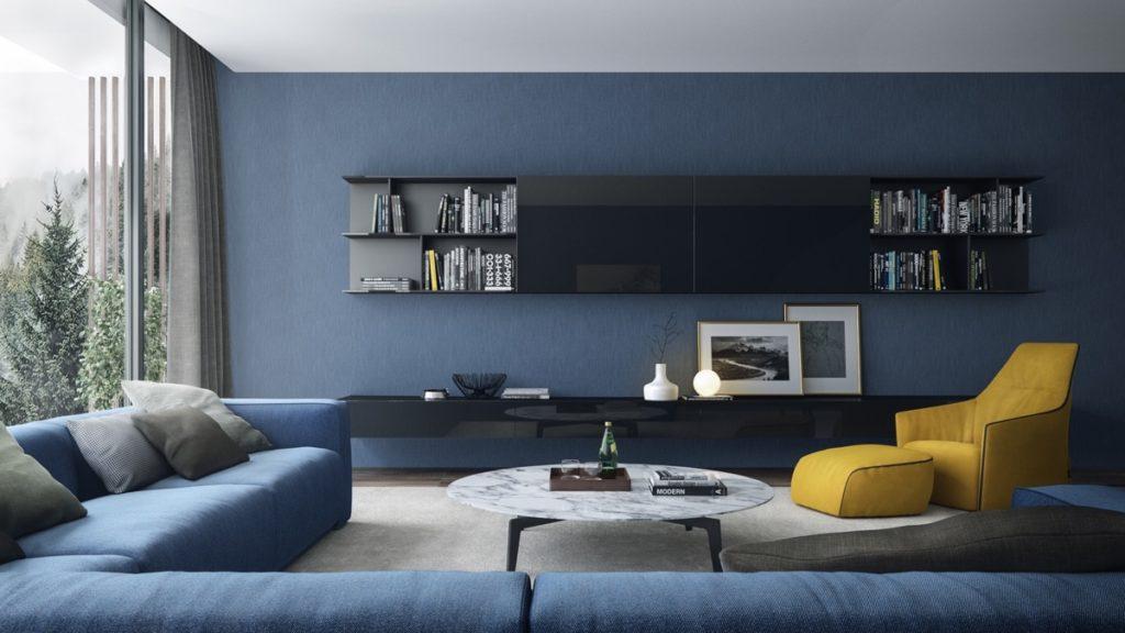 Moderní modrý obývací pokoj