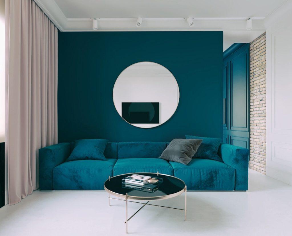 Tyrkysový obývací pokoj